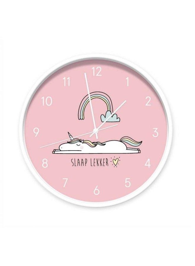 Klok Unicorn roze 'slaap lekker'