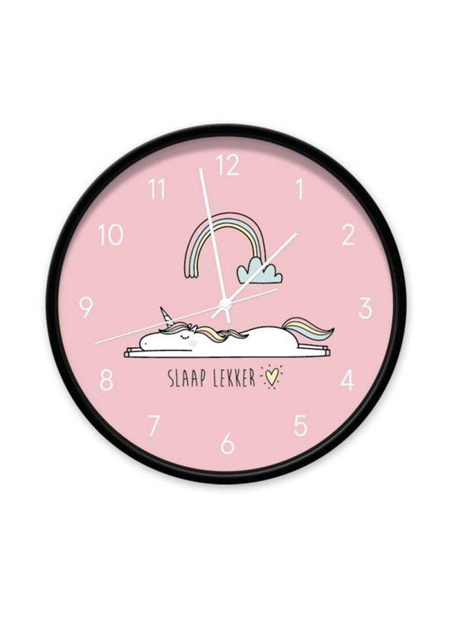 Clock Unicorn pink  'slaap lekker'
