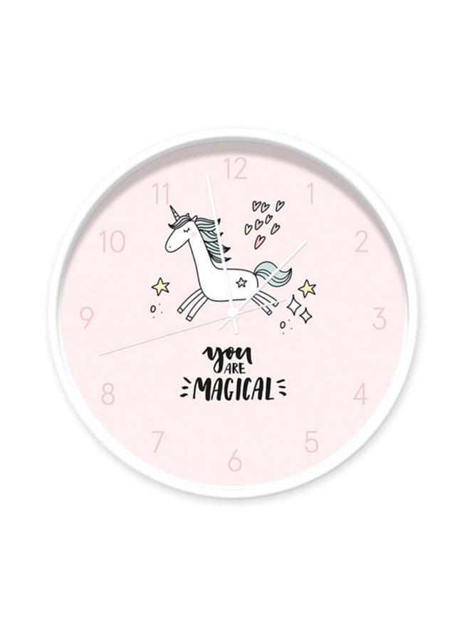 Lichtroze Unicornklok 'you are magical'