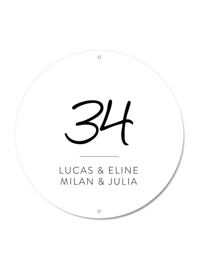 Outdoor wall circle nameplate Minimalistic