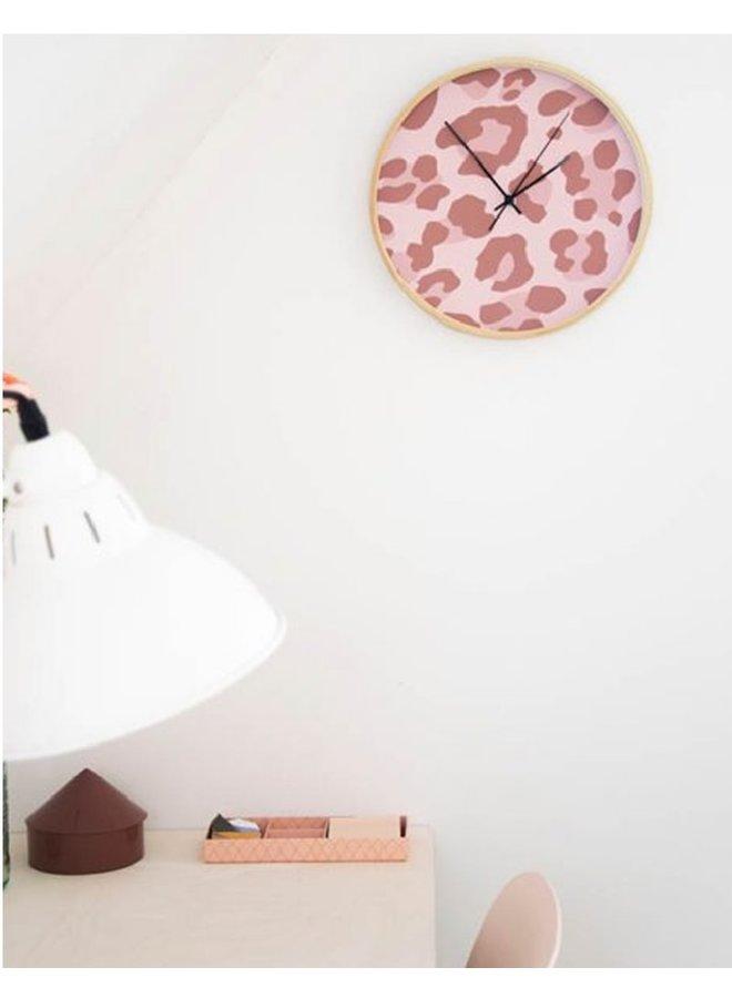 Clock Leopard pink