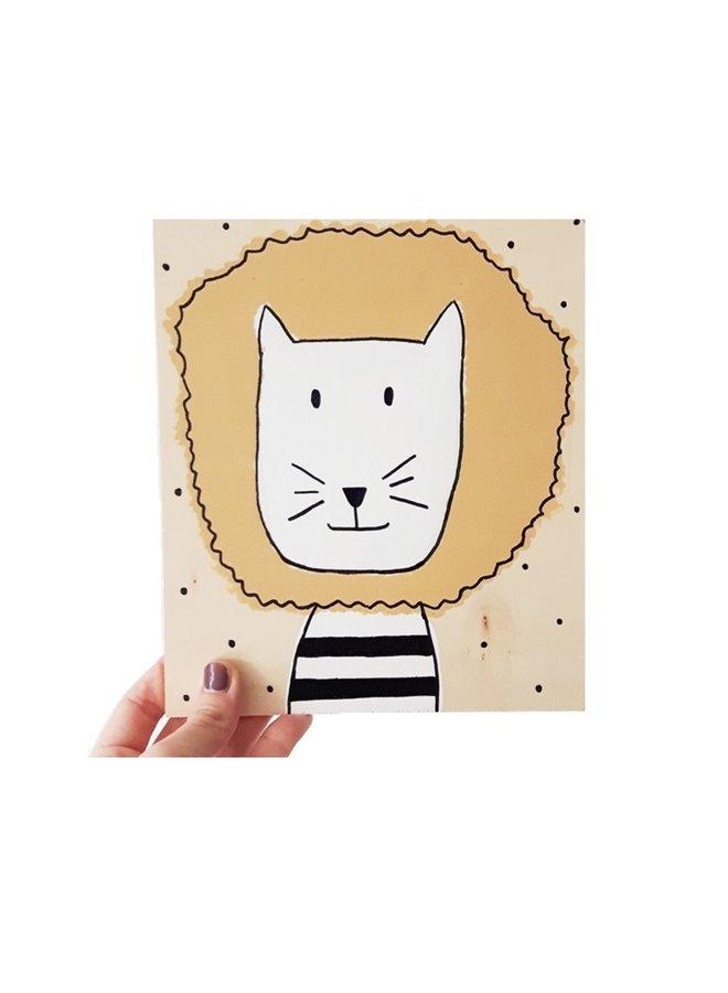 Print on wood Lion 18x21 cm