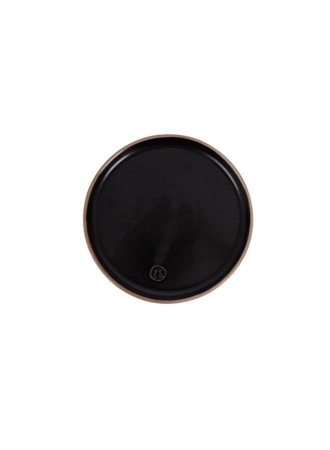 Gebaksbordje aardewerk zwart