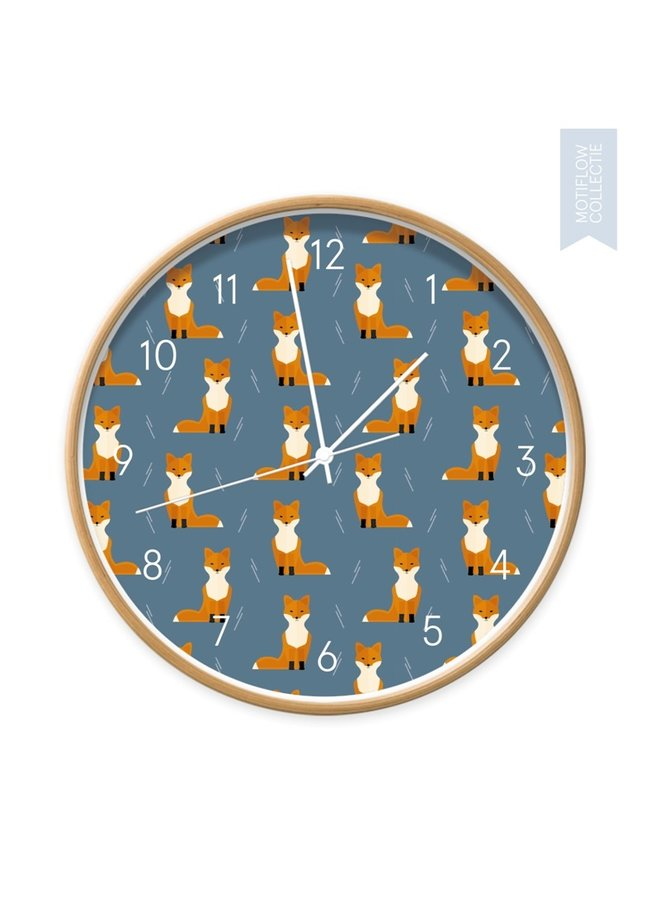 Children's clock Foxes on blue