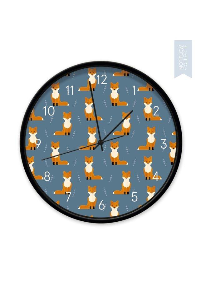 Designer kinderklok Foxes on blue