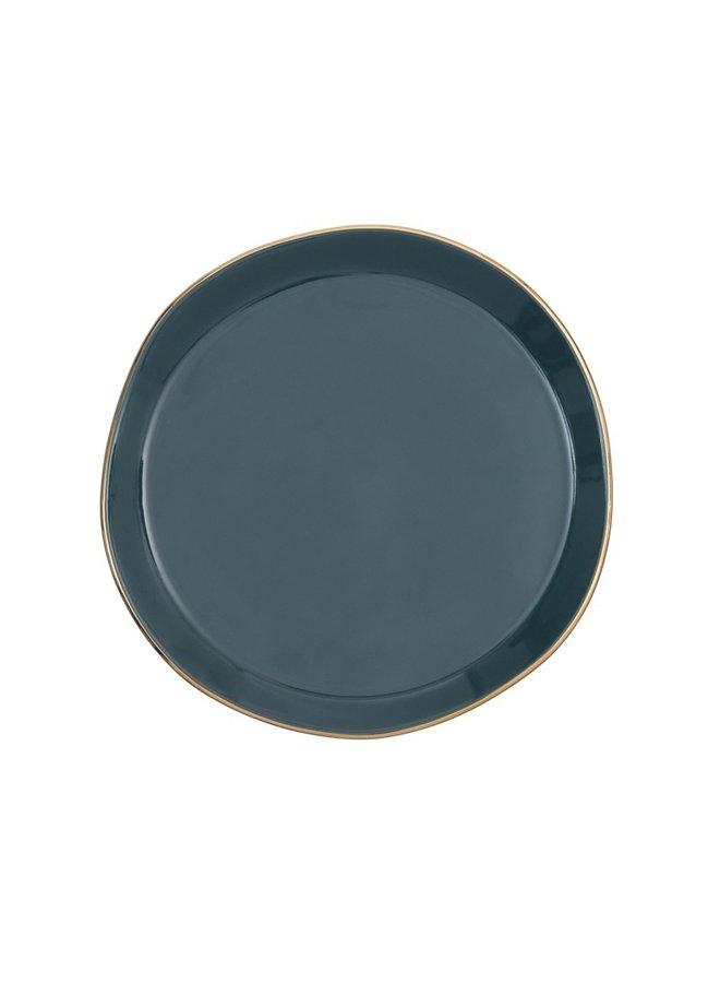 Good Morning plate blue green