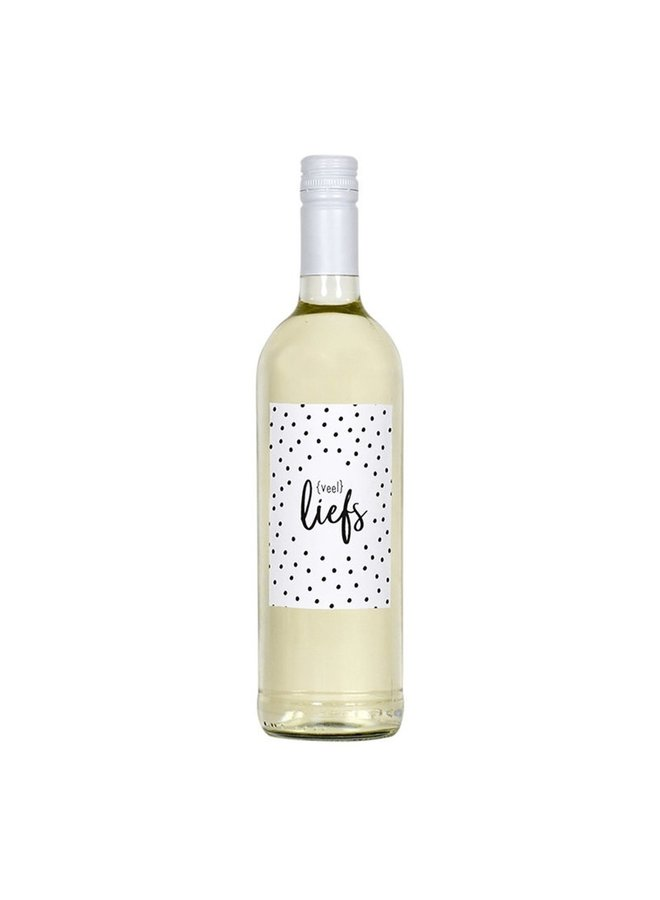 Fles etiket met dots tekst 'veel liefs'
