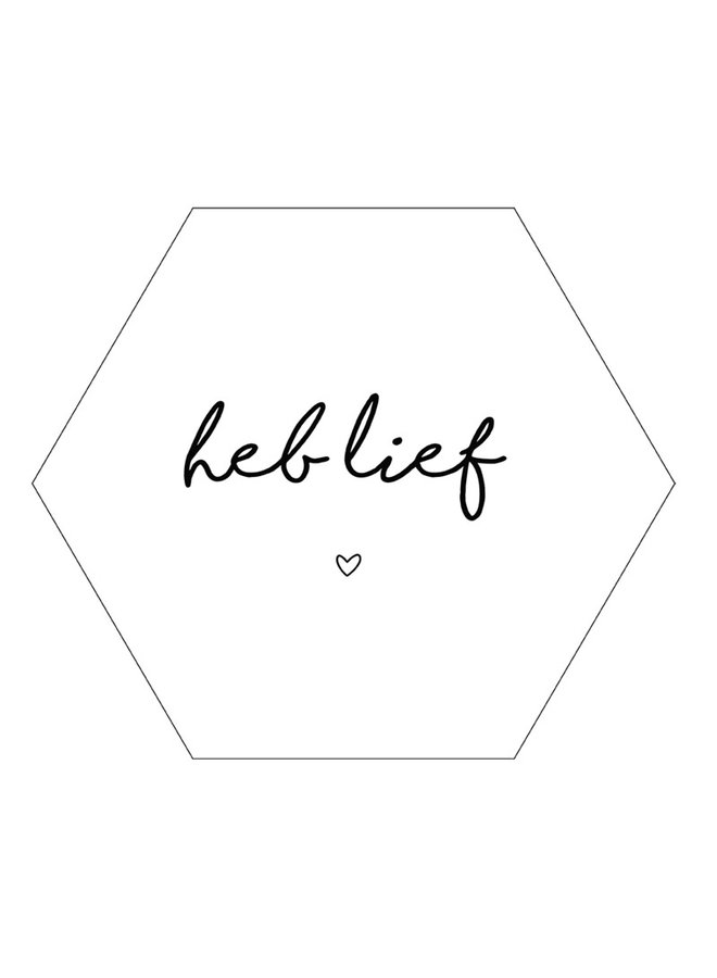 Wall hexagon 'heb lief' wit