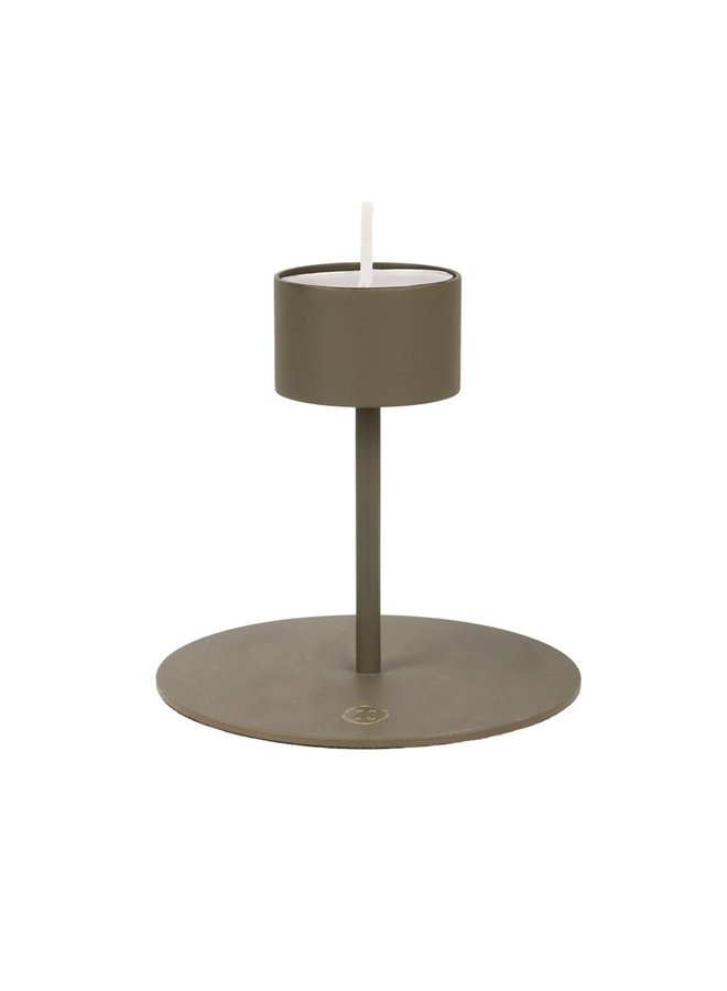 Tealight holder on feet dark green