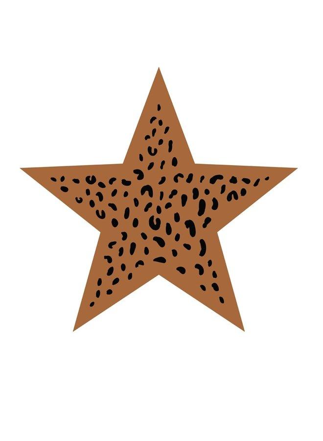 Muurcirkel Ster leopard hazelbruin