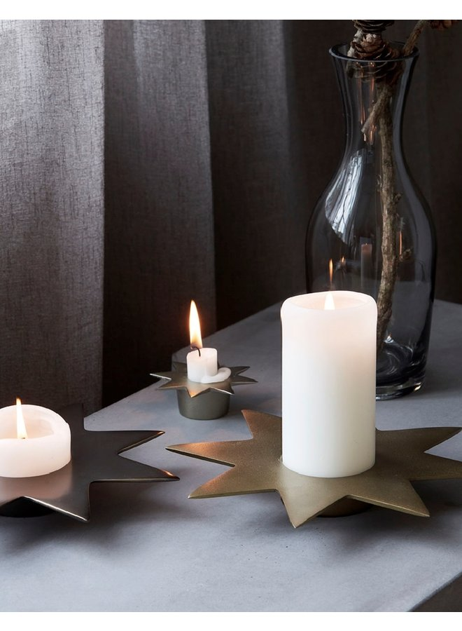 Candle stand, Star, Antique metallic | 22cm