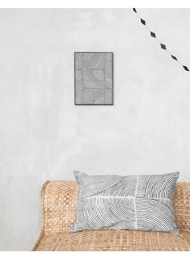 Schilderij grafisch patroon zwart | 35x25cm