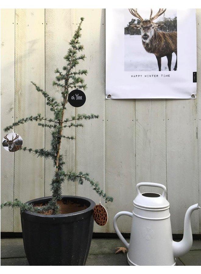 Kerstbal hanger Oh deer zwart