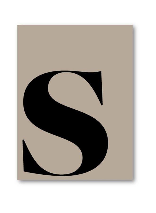 Letterposter letter S | taupe zwart