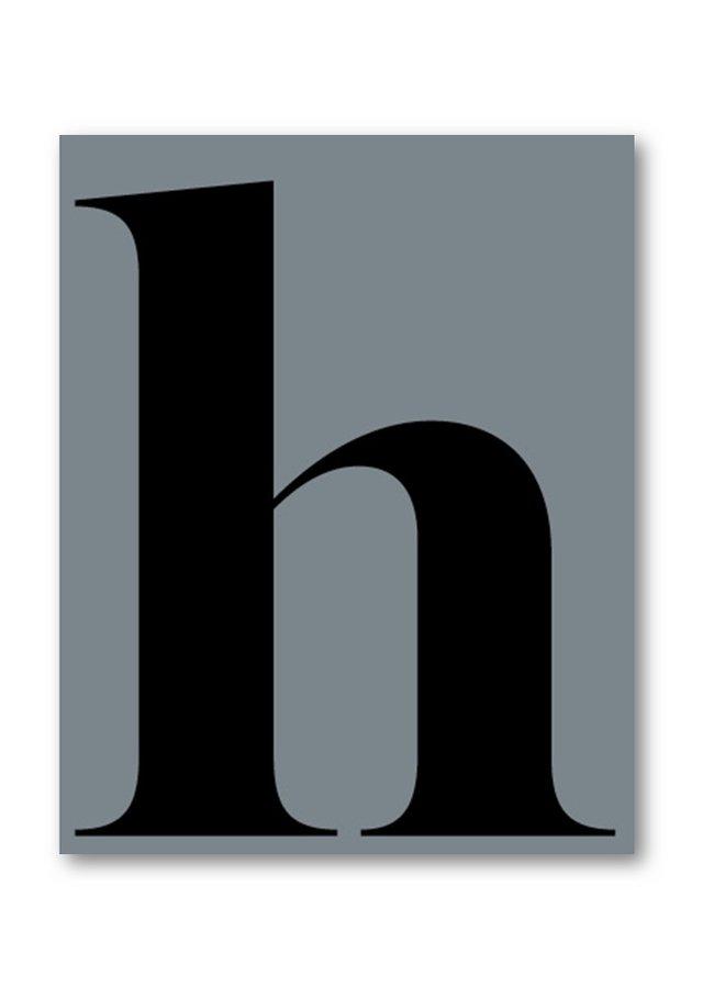 Letter print of the letter h | ice blue-black