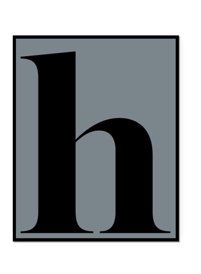 Letterposter letter h | ijsblauw-zwart
