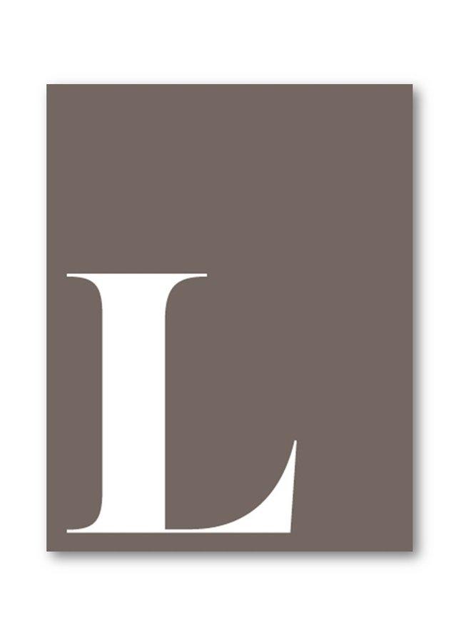 Letter print of the letter L   lavender white