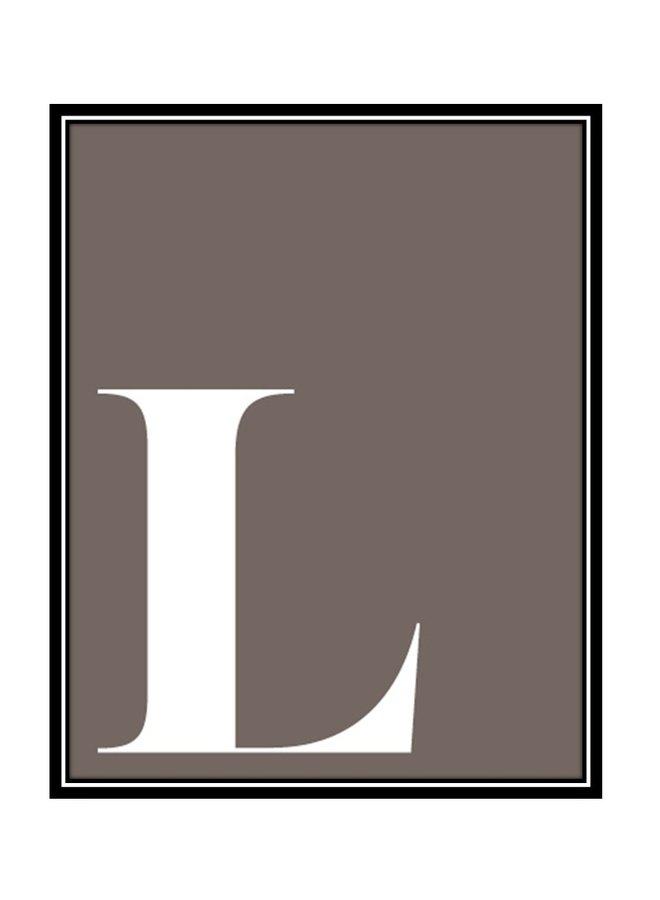 Letterposter letter L | lavendel wit