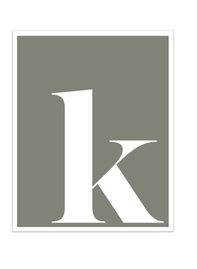 Letterposter letter k | grijs wit