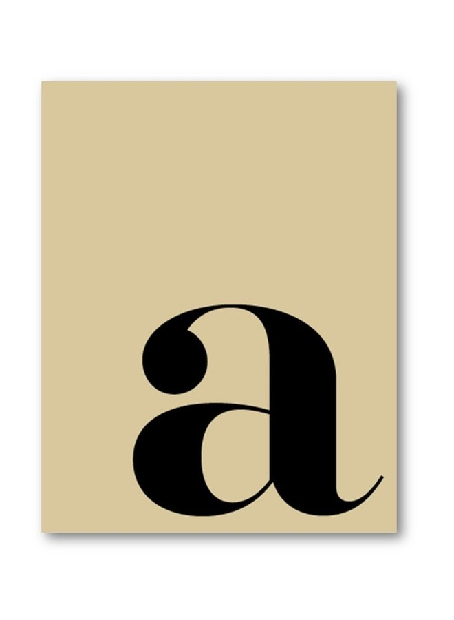 Letter print of the letter a |  vanilla black
