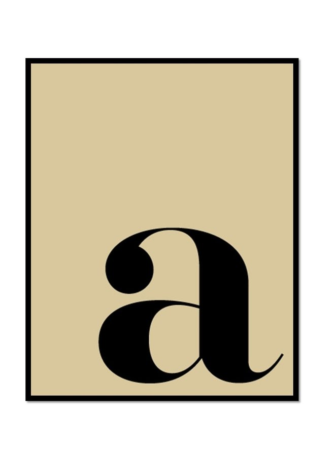 Letterposter letter a | vanille zwart