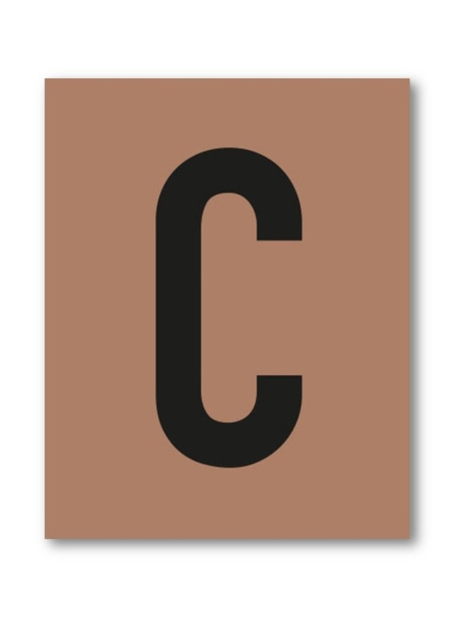 Letterprint van de letter C | roest-zwart