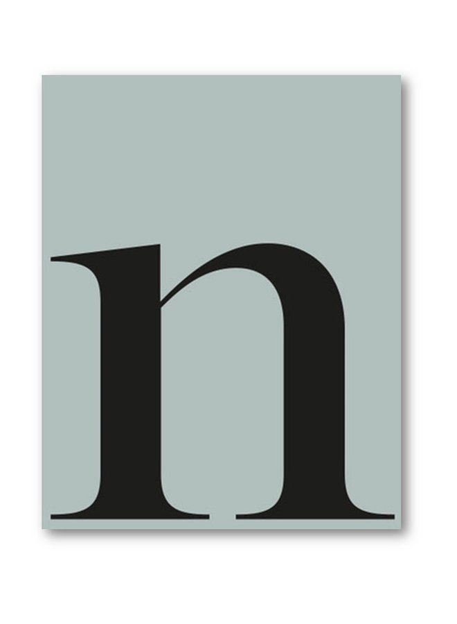 Letter print letter n | sea blue black