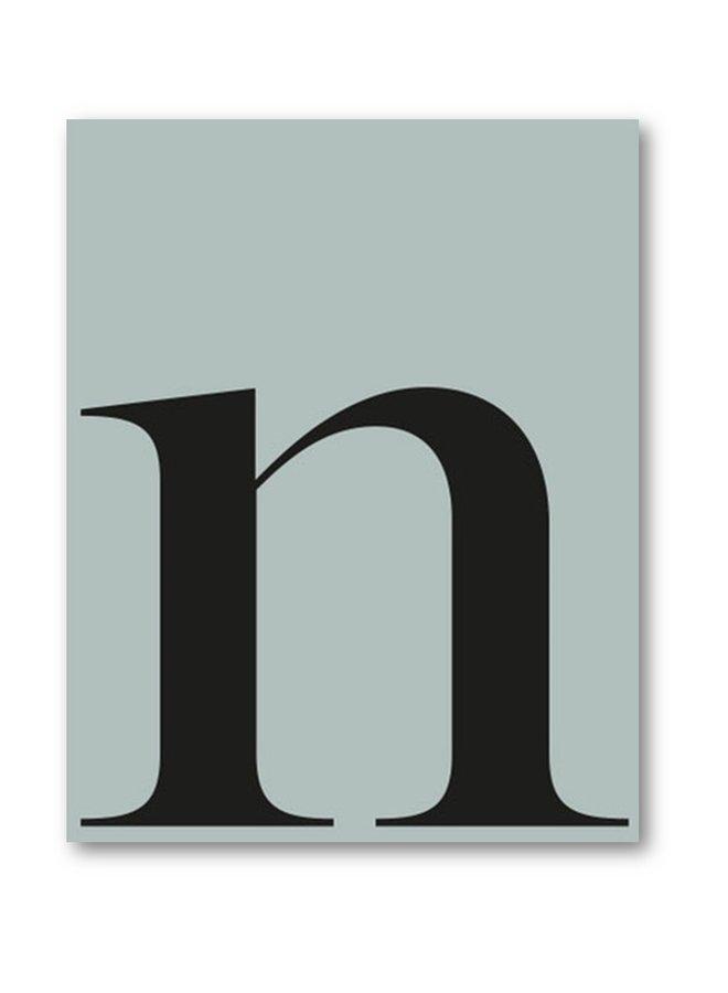 Letterposter letter n | zeeblauw  zwart