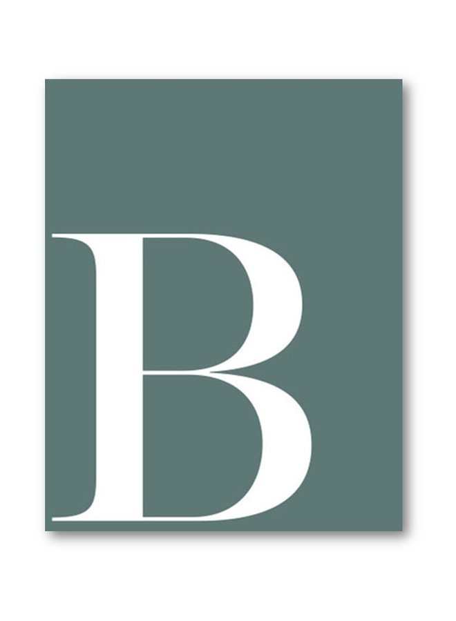 Letter print of the letter B | petrol-white