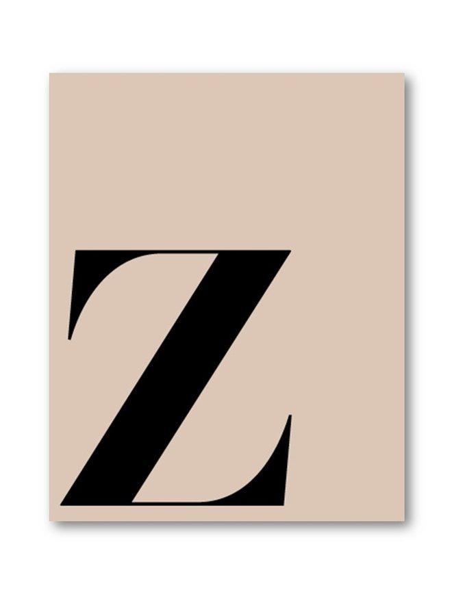 Letterposter letter Z | beige zwart