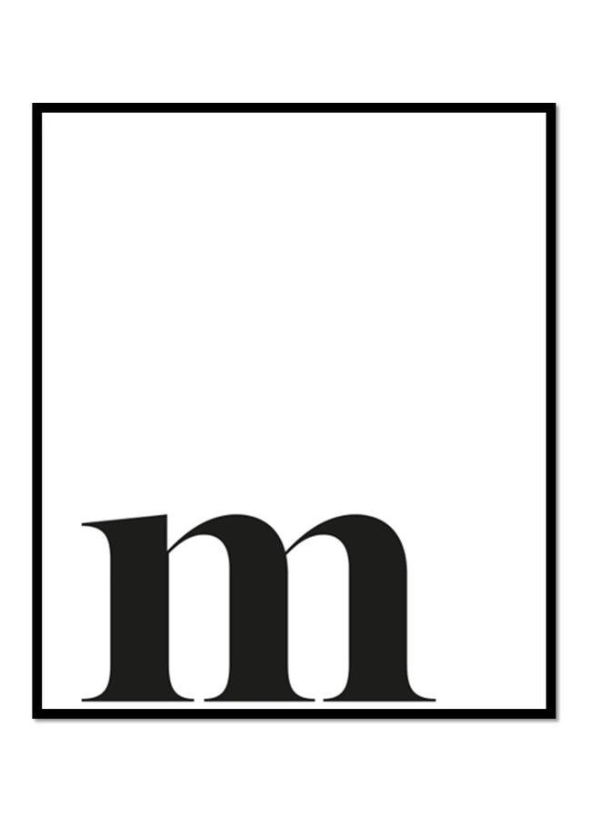 Letterposter letter m | off-white, zwart