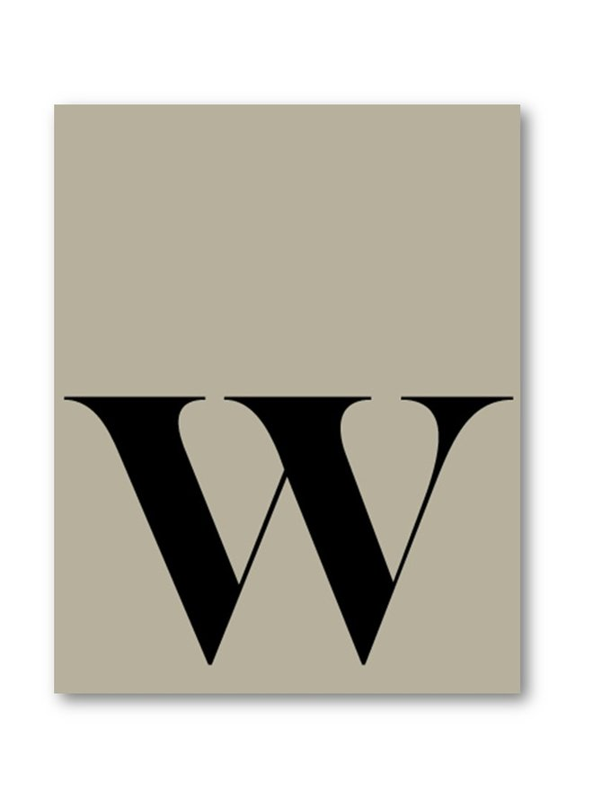 Letter print of the letter W | grey-green black