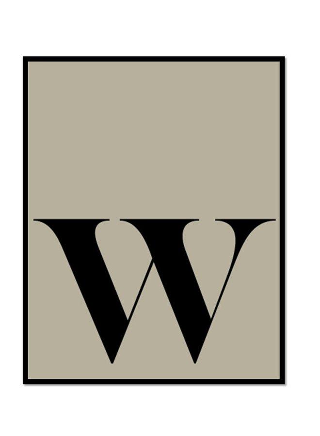 Letterposter letter W | grijsgroen zwart