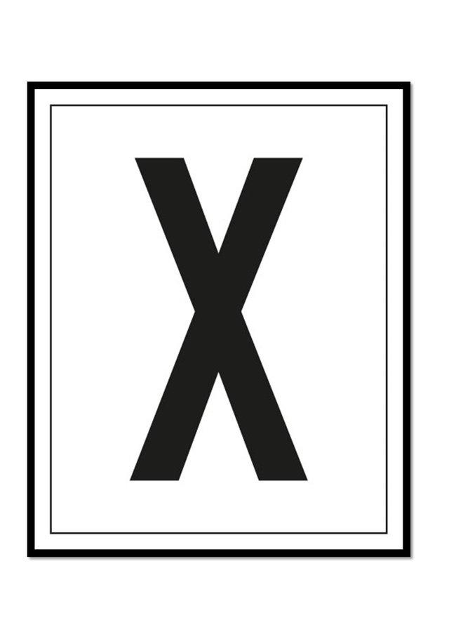 Letterposter letter X | wit zwart