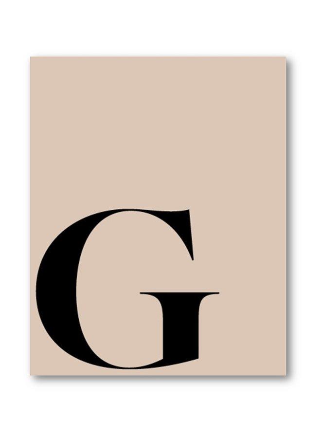 Letterposter letter G | lever zwart