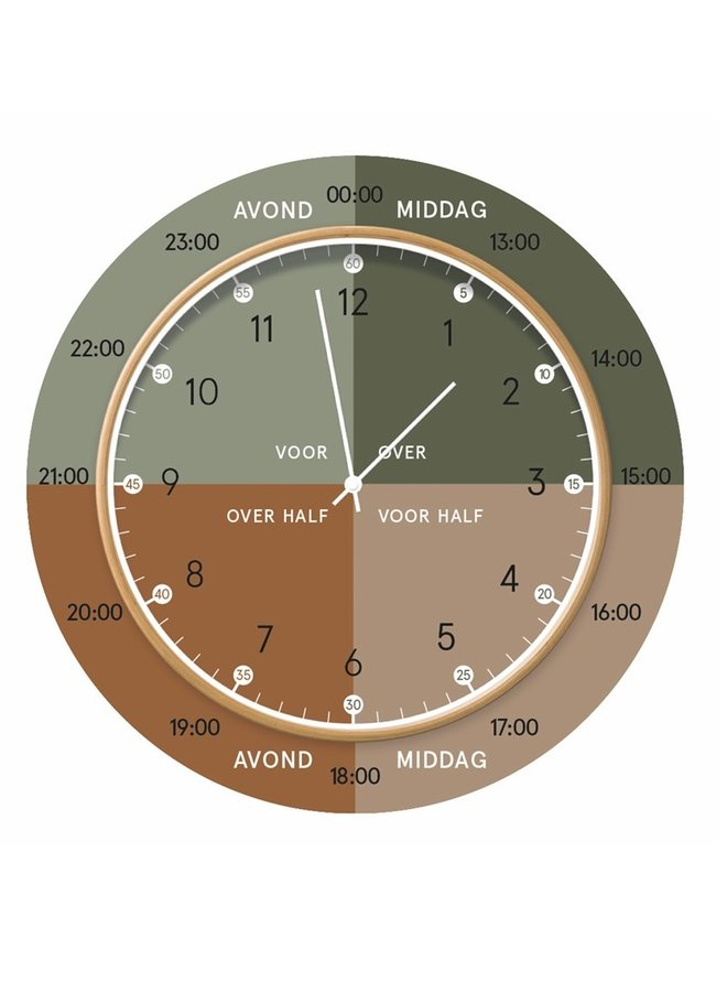 Learning clock | green brown