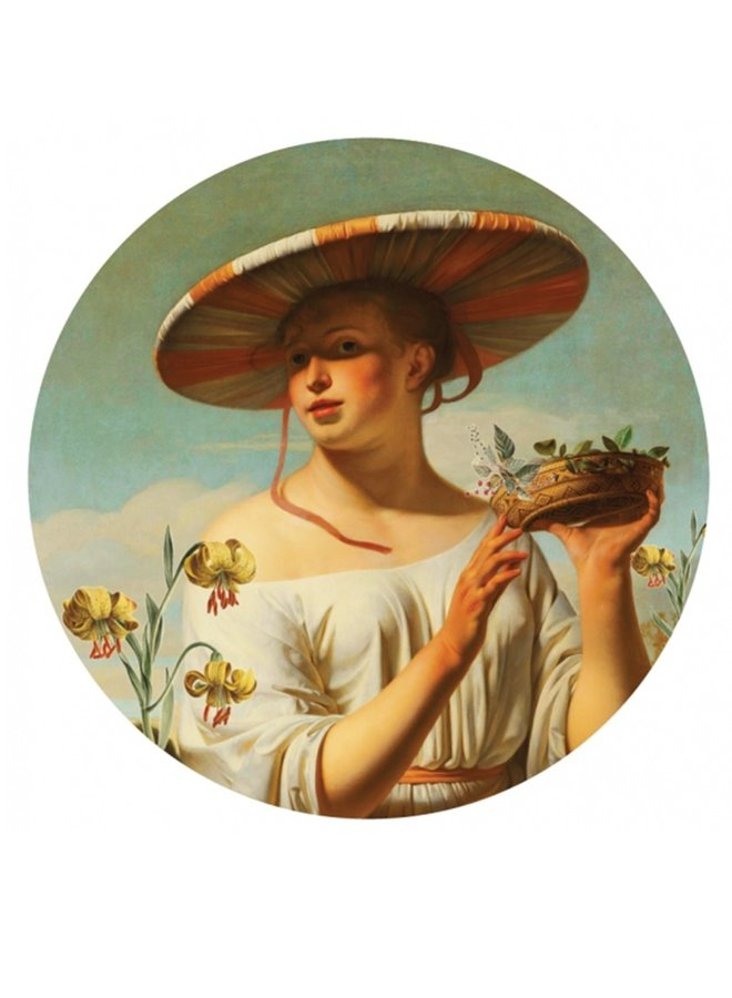Wall Circle Girl with hat