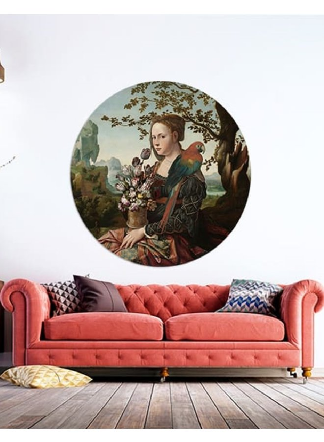Wall Circle Girl with parrot