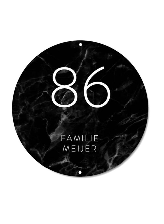 Outdoor wall circle | nameplate Marble black
