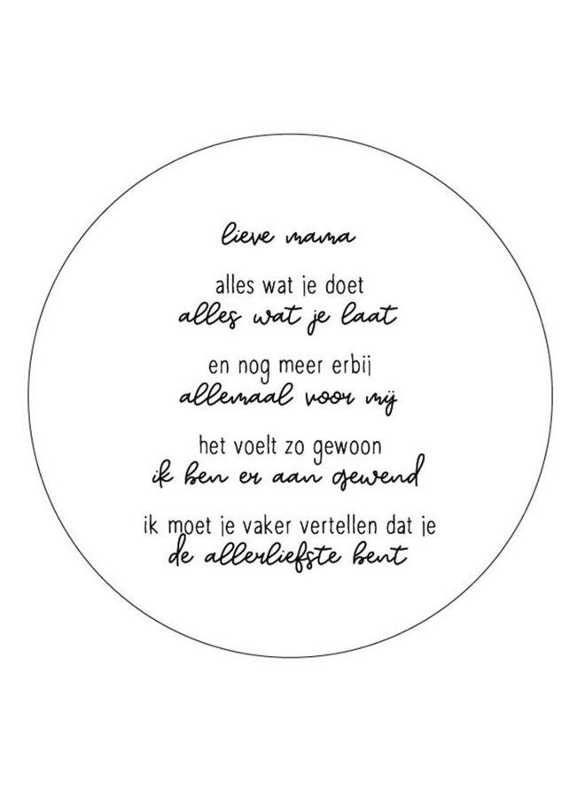 Muurcirkel wit met gedicht 'lieve mama'