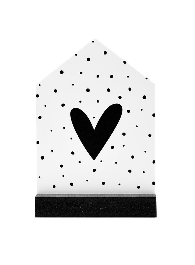 Gift house with heart and dots