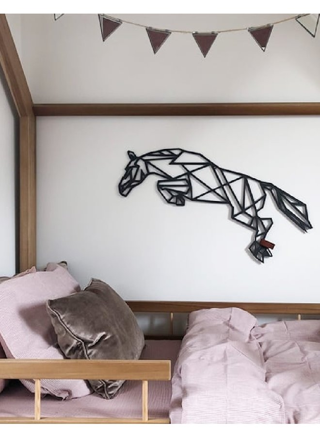 Wooden wall decoration Jumping horse