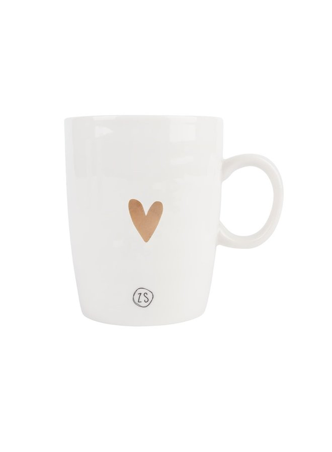 Tea mug pottery golden heart