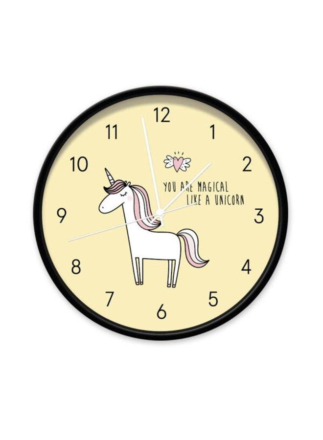 Clock  Unicorn yellow