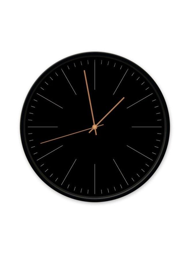 Clock black with stripes