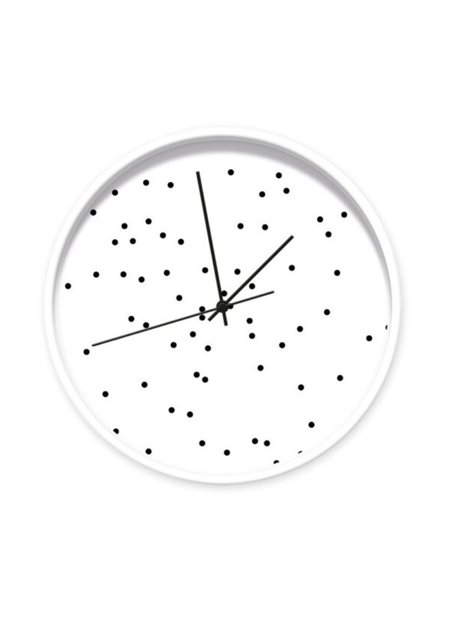 Clock white with black dots 001