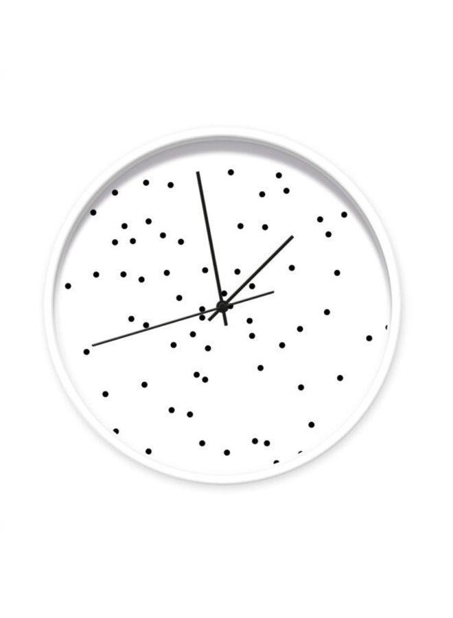 Klok wit met zwarte stippen 001