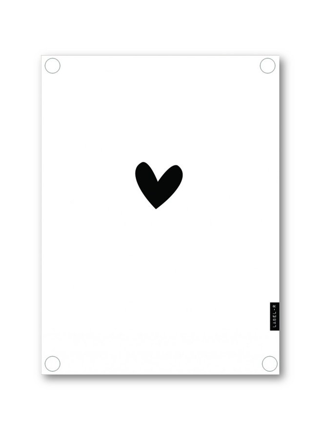 Outdoor poster white with black heart