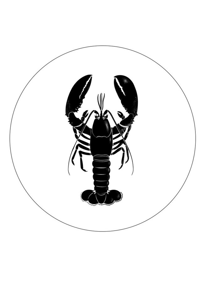 Wall Circle white with black lobster