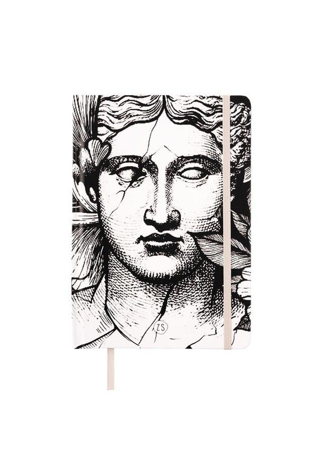 Notebook head woman white